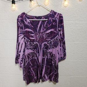 💜 Apt 9 Purple Paisley Boho Studded Blouse Sz L